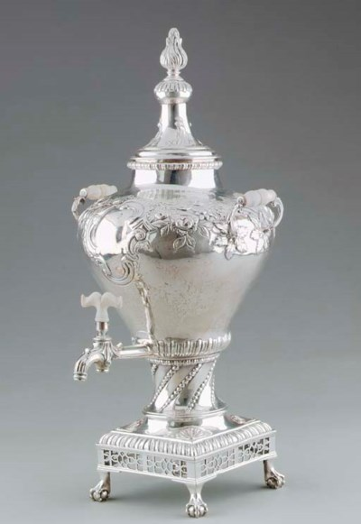 A SCOTTISH SILVER TEA URN,**