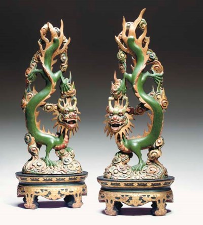 A PAIR OF CHINESE CARVED WOOD
