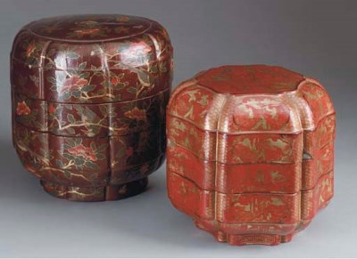 A RED LACQUER LUNCH BOX TOGETH