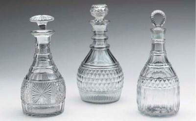 SIX ANGLO-IRISH CUT-GLASS DECA