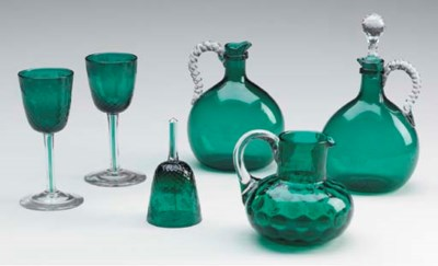 A GROUP OF ENGLISH GREEN GLASS