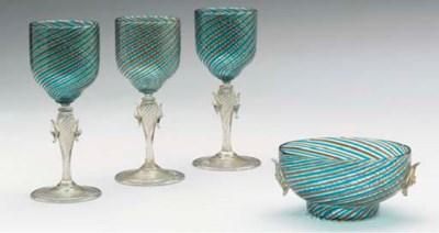 SEVEN VENETIAN WINE GLASSES AN