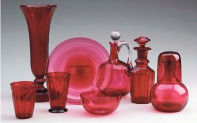A GROUP OF RUBY GLASS TABLEWAR