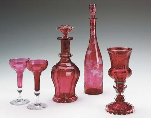 A GROUP OF VICTORIAN RUBY AND RUBY CUT-TO-CLEAR GLASS,