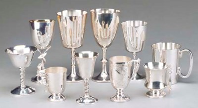 A GROUP OF SILVER PLATED GOBLE