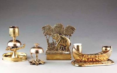 A GROUP OF VICTORIAN BRASS DES