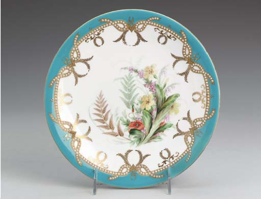 A SET OF TEN ENGLISH PORCELAIN TURQUOISE-GROUND AND ENAMEL DECORATED DESSERT PLATES,
