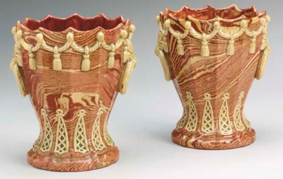 A PAIR OF FRENCH POTTERY SURFA