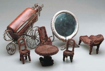 A VICTORIAN SEED WORK DOLL'S S