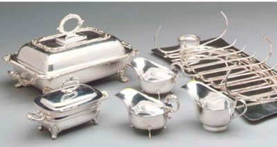 A GROUP OF SILVER PLATED SERVI