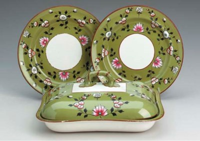 A SPODE PEA-GREEN GROUND PART