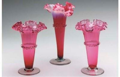 AN VICTORIAN RUBY GLASS ASSEMB