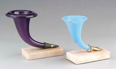 TWO VICTORIAN COLORED GLASS AN