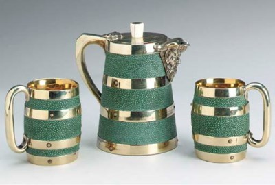 A GROUP OF BRASS AND SHAGREEN