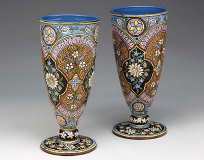 A PAIR OF SWISS POTTERY VASES,