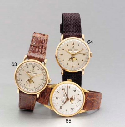 OMEGA. A PINK GOLD TRIPLE CALE