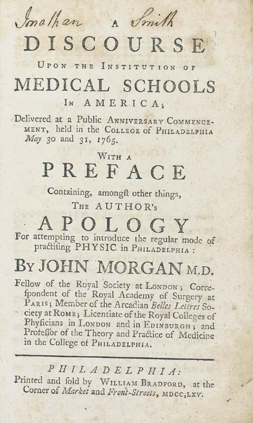MORGAN, John (1735-1789). A Di