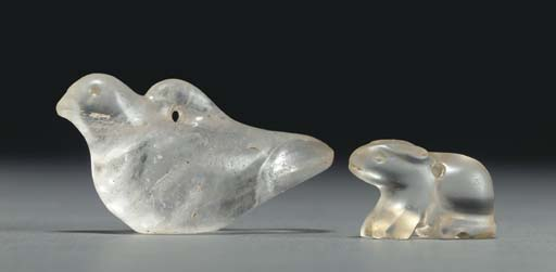 TWO ROMAN ROCK CRYSTAL AMULETS