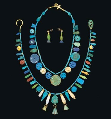 TWO EGYPTIAN FAIENCE NECKLACES