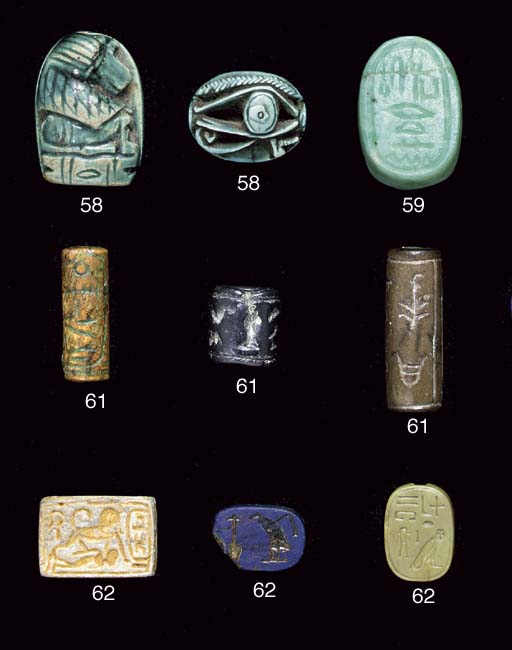 AN EGYPTIAN SPACER BEAD AND TW