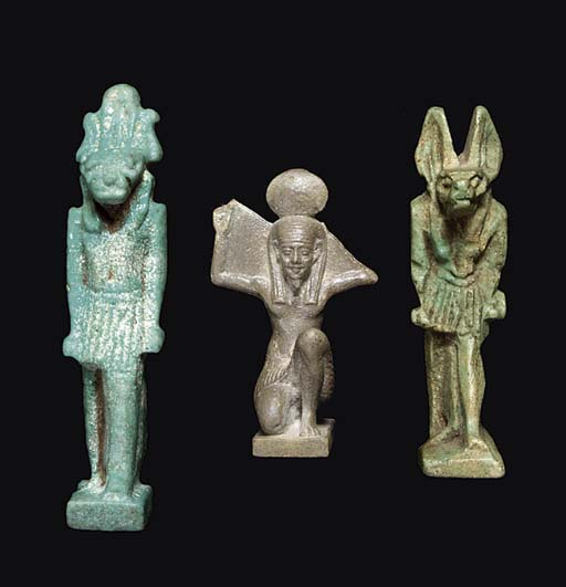THREE EGYPTIAN FAIENCE AMULETS