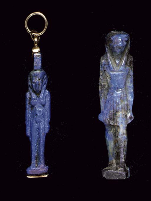 TWO EGYPTIAN LAPIS LAZULI AMUL