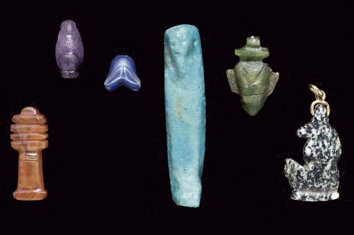 SIX EGYPTIAN AMULETS