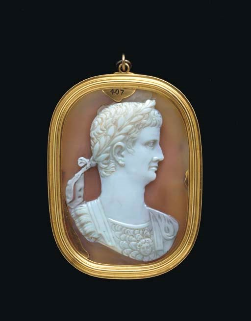 A Roman onyx cameo portrait of the Emperor Claudius, 41-54 AD. 3 in (7.6 cm) long. Sold for $321,100 on 9 December 2004 at Christie's in New York