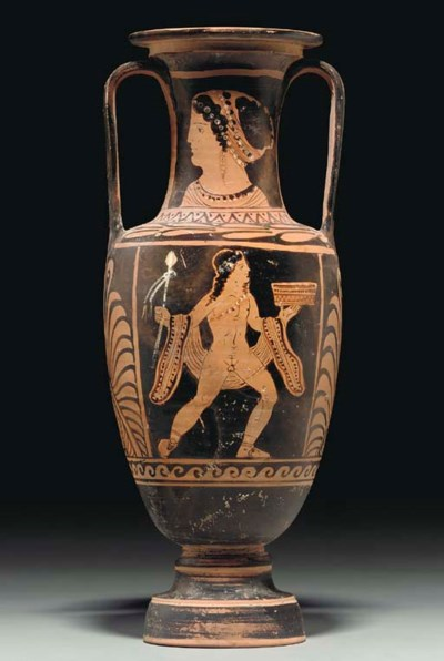 A PAESTAN RED-FIGURED AMPHORA