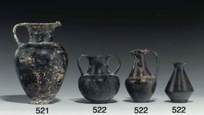 THREE ETRUSCAN POTTERY VESSELS