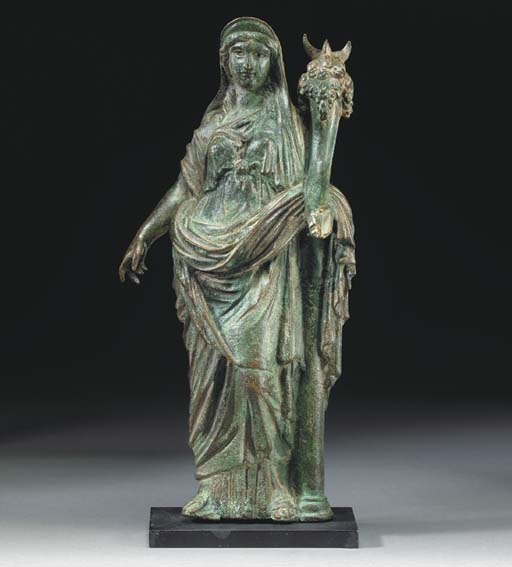 A ROMAN BRONZE FORTUNA , CIRCA LATE 1ST-EARLY 2ND CENTURY A.D.