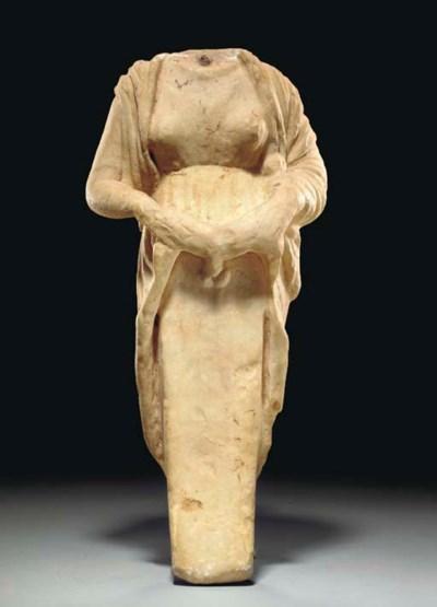 A ROMAN MARBLE HERMAPHRODITIC