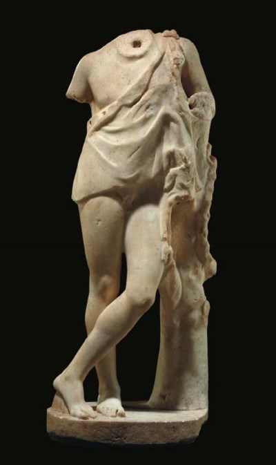 A ROMAN MARBLE YOUTHFUL SATYR