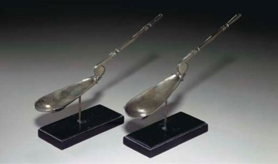 TWO BYZANTINE SILVER SPOONS