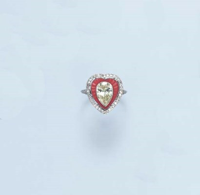 **A CORAL AND DIAMOND RING