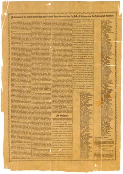 [TEXAS -- SECESSION, 1861]. De