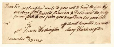 WASHINGTON, Mary Ball (c.1709-