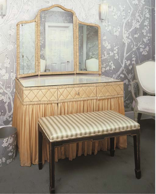 A BEIGE SILK-COVERED VANITY TA