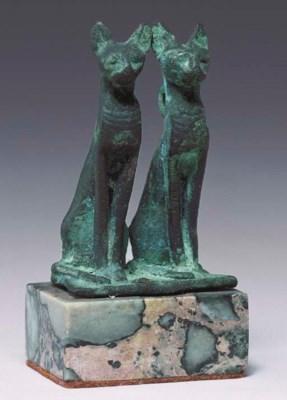 AN EGYPTIAN BRONZE DOUBLE-CAT