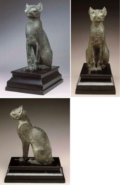 AN EGYPTIAN BRONZE CAT