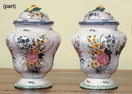 A PAIR OF FRENCH FAIENCE BALUS