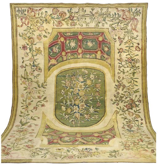 AN EARLY AUBUSSON PILE CARPET