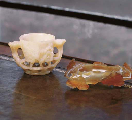 TWO CHINESE HARDSTONE TABLE AR