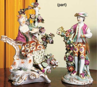 TWO DERBY PORCELAIN FIGURES OF