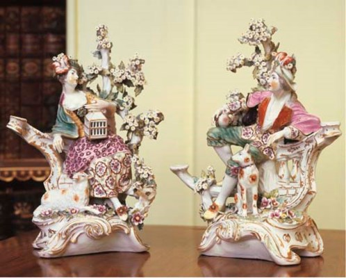 A PAIR OF DERBY PORCELAIN CAND