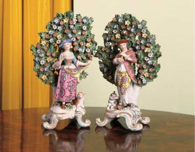 A PAIR OF DERBY STYLE PORCELAI