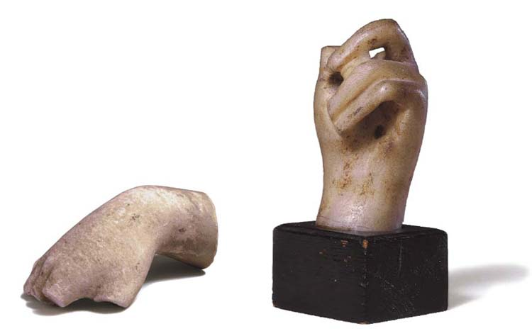 TWO ROMAN MARBLE HANDS