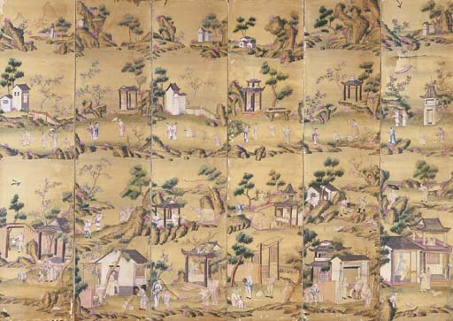 A CHINESE PAINTED SILK SIX-PAN