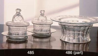 A PAIR OF CUT-GLASS BOWLS, COV
