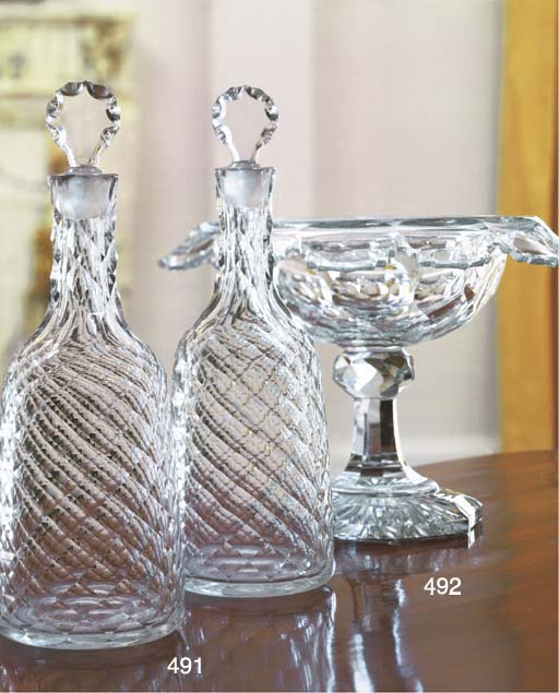 A CUT-GLASS CENTERPIECE BOWL